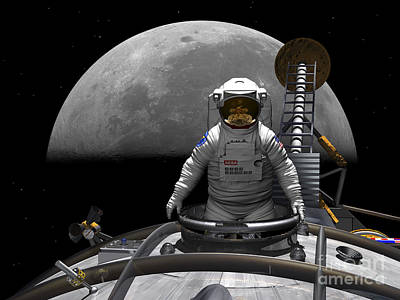An Astronaut Takes A Last Look At Earth Art Print by Walter Myers