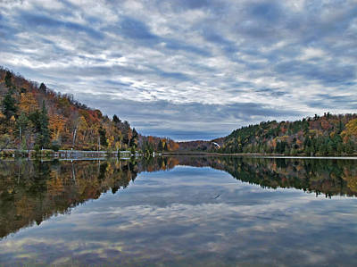 Photograph - An Autumn Forest Reflected On A Mirrored Lake by Chantal PhotoPix