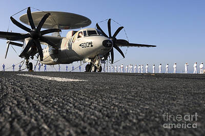 An E-2c Hawkeye Sits On The Flight Deck Art Print
