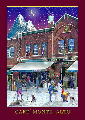 Photograph - An Early Snow For Cafe Monte Alto by Nancy Griswold