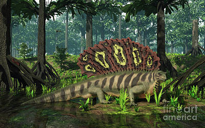 Tree Roots Digital Art - An Edaphosaurus Forages In A Brackish by Walter Myers