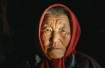An Elderly Kazakh Woman In Western Art Print by David Edwards