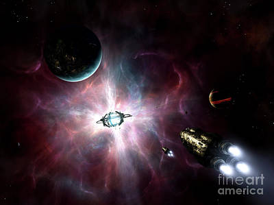 Rocketship Digital Art - An Enormous Stellar Power by Brian Christensen