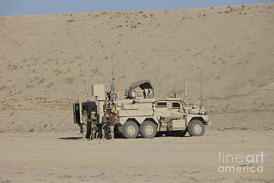 An Eod Cougar Mrap In A Wadi Art Print by Terry Moore
