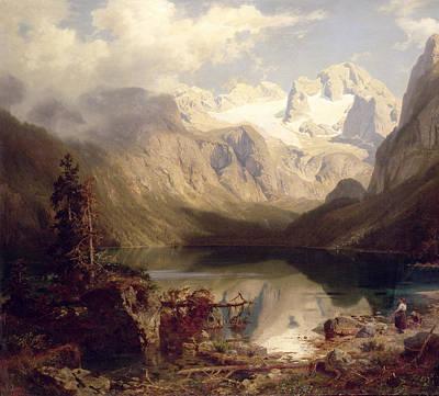 Mountainous Painting - An Extensive Alpine Lake Landscape by Augustus Wilhelm Leu