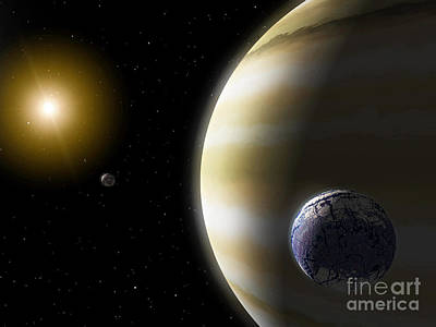 Extrasolar Planet Digital Art - An Extrasolar Planet With Hypothetical by Stocktrek Images