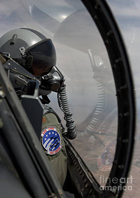 An F-16 Pilot Checks The Position Art Print by HIGH-G Productions