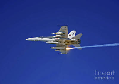 An Fa-18c Hornet Testing Its Flare Art Print by Stocktrek Images