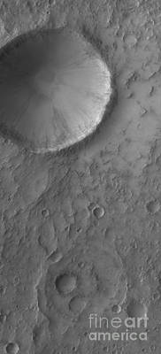 Photograph - An Impact Crater On Mars by Stocktrek Images