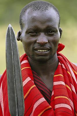 An Informal Portrait Of A Masai Warrior Art Print by Michael Melford