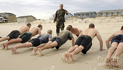 Fitness Instructor Photograph - An Instructor Observes Recruits by Stocktrek Images