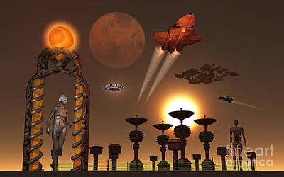 An Interstellar Relay Station Operated Art Print