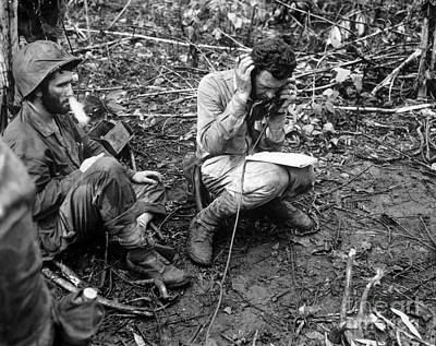 Talking On The Phone Photograph - An Officer Receives A Report On A Field by Stocktrek Images