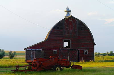 an old barn and bailor in Eastern Montana Art Print by Jeff Swan