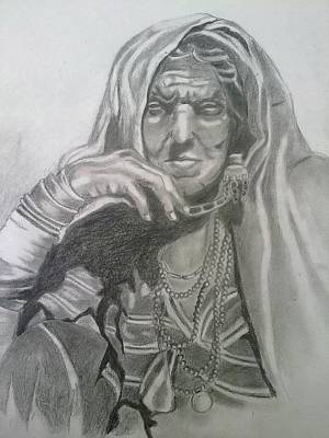 Confident Drawing - An Old Woman by Bharati Subramanian