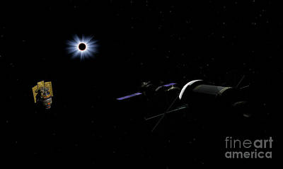 Solar Eclipse Digital Art - An Orion Class Crew Exploration Vehicle by Walter Myers