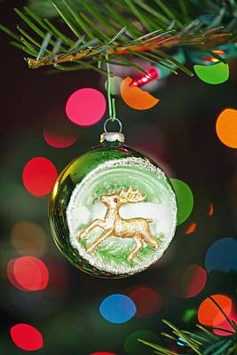 An Ornament With A Reindeer Hanging Art Print by Craig Tuttle