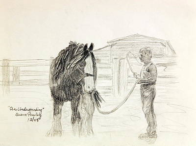 Clydesdale Drawing - An Understanding by Susan Pawley