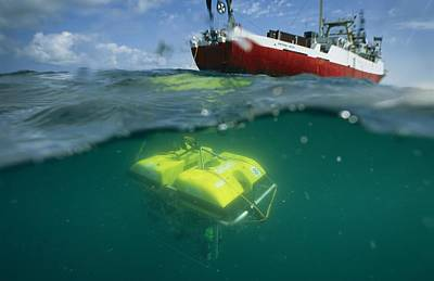 An Unmanned Submersible Conducts Art Print