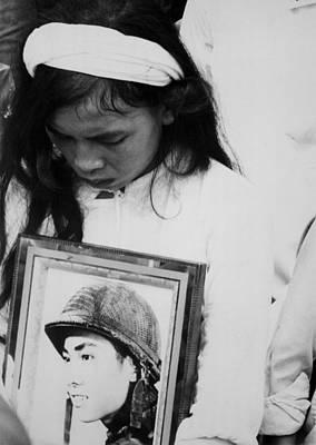 An Young Vietnamese Widow Mourns Print by Everett