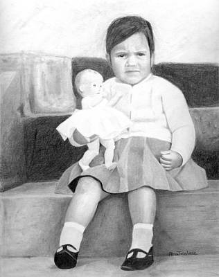 Print featuring the drawing Ana With Dolly by Ana Tirolese
