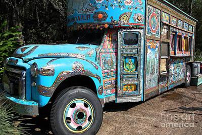 Digital Art - Anandapur Blue Bus Animal Kingdom Walt Disney World Prints Ink Outlines by Shawn O'Brien