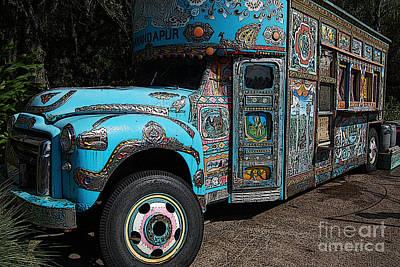 Digital Art - Anandapur Blue Bus Animal Kingdom Walt Disney World Prints Poster Edges by Shawn O'Brien