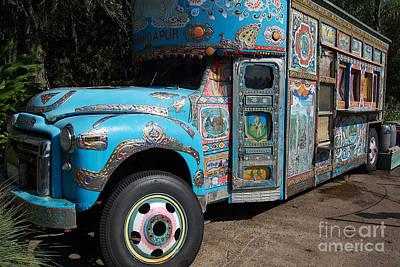 Photograph - Anandapur Blue Bus Animal Kingdom Walt Disney World Prints by Shawn O'Brien