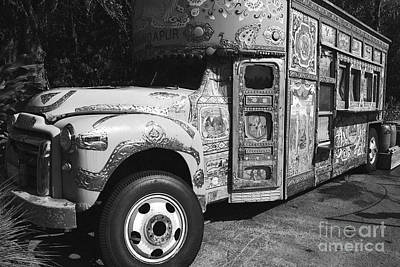 Digital Art - Anandapur Bus Animal Kingdom Walt Disney World Prints Black And White Film Grain by Shawn O'Brien