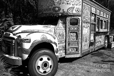 Digital Art - Anandapur Bus Animal Kingdom Walt Disney World Prints Black And White Ink Outlines by Shawn O'Brien