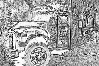 Digital Art - Anandapur Bus Animal Kingdom Walt Disney World Prints Black And White Photocopy by Shawn O'Brien