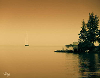 Anchored Near A Temple - Sepia Art Print by Allan Rufus