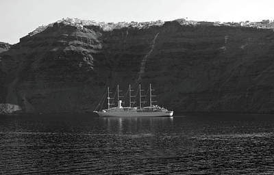 Photograph - Anchored Off Santorini. by Terence Davis