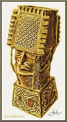 Benin Drawing - Ancient Afuraka - 1 by AJ  Modiest