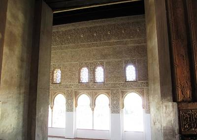 Photograph - Ancient Arabic Interior Design With Sun Light Glowing Granada Spain by John Shiron