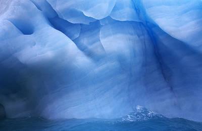 Photograph - Ancient Blue Iceberg, Detail, Antarctica by Flip De Nooyer