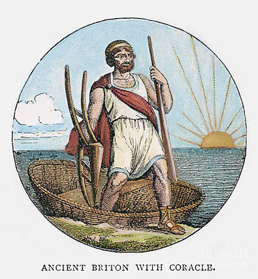 Ancient Briton And Coracle Art Print by Granger