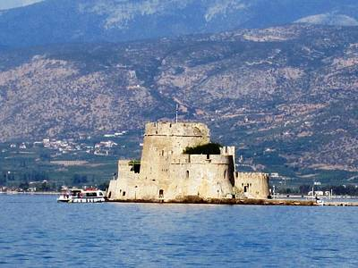 Photograph - Ancient Castle In Nafplion Bay Water In Greece by John Shiron