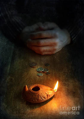 Oil Lamp Photograph - Ancient Coins And Oil Lamp by Jill Battaglia