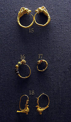 Ancient Earrings Photograph - Hellenistic Earrings by Andonis Katanos