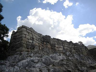 Photograph - Ancient Hilltop Mountain Range And Archeological Man Made Stone Remains In Mycenae Greece by John Shiron