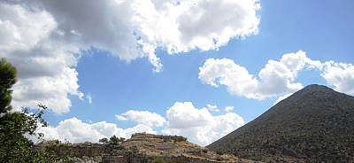 Photograph - Ancient Hilltop Mountain Range With A View And Archeological Remains In Mycenae Greece by John Shiron
