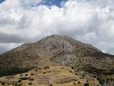 Photograph - Ancient Mycenaean Archeological Ruins Overlooking Heavenly Mountain Top In Mycenae Greece by John Shiron