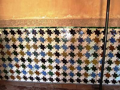 Photograph - Ancient Star Of David Tile Work Granada Spain by John Shiron
