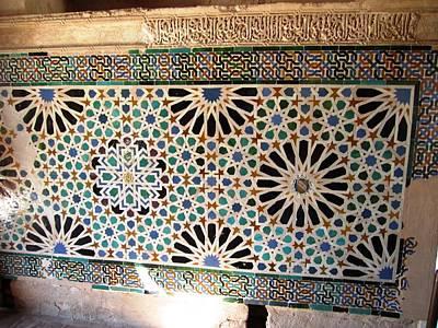Photograph - Ancient Tilework Arabic Writing Granada Spain by John Shiron
