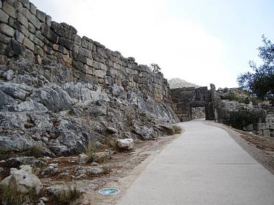 Photograph - Ancient Walkway Entrance To The Hilltop Mountain Range And Archeological Remains In Mycenae Greece by John Shiron