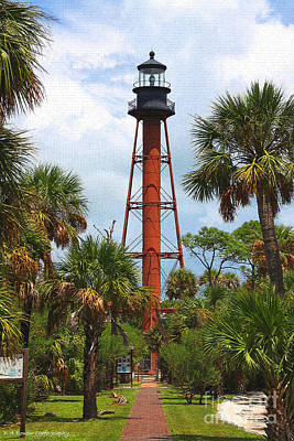 Digital Art - Anclote Key Lighthouse Craquelure by Barbara Bowen