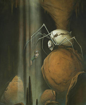 Creepy Painting - And Along Came A Spider... by Stacy Drum