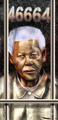 Nobel Peace Prize Painting - And God Remembered Prisoner 46664 by Reggie Duffie