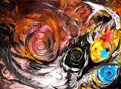 Anewed Antypityped Five Fish Art Print